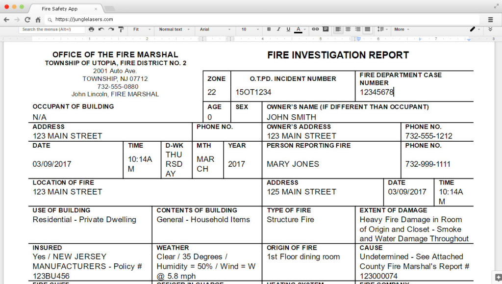 Fire Investigation Report